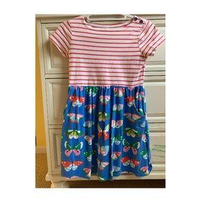 Girls Blue & Red Striped Butterfly Dress